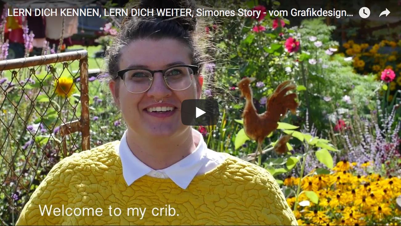 Start-Screen von Lern dich kennen. lern dich weiter. Simones Story.