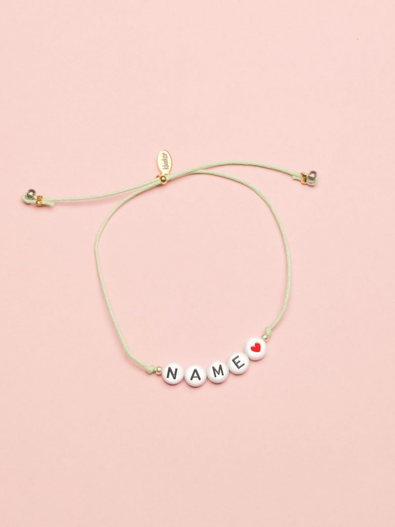 Typo Armband, Namensarmband mit Name und Herz