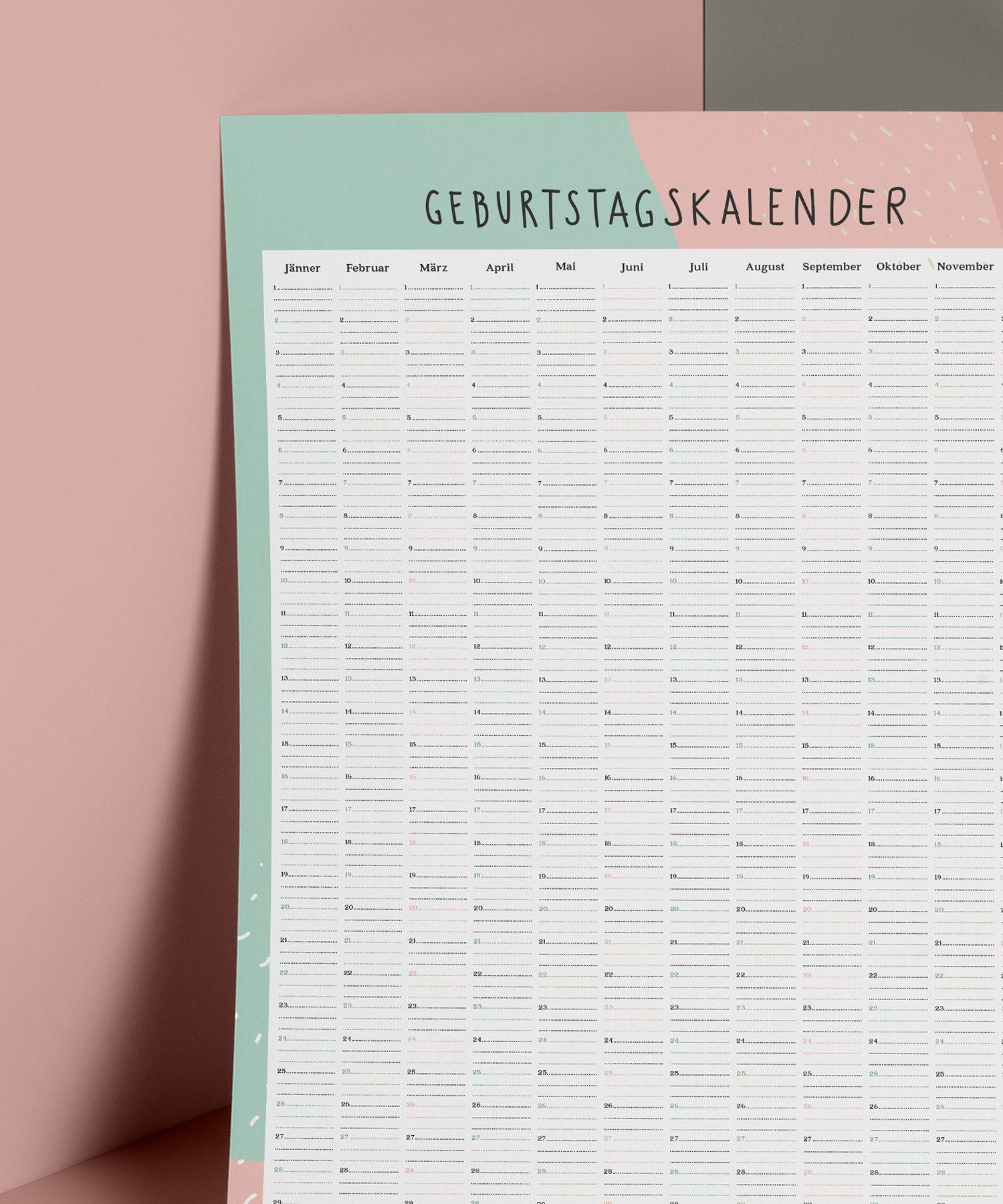 Zeitloser Geburtstagskalender mit viel Platz für Namen.