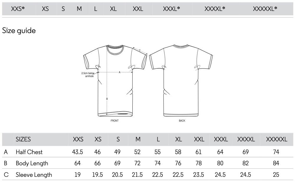 Größentabelle und Passform für die T-Shirts von Fotografin Nina Bröll. Stanley und Stella Biobaumwolle Modell Creator.