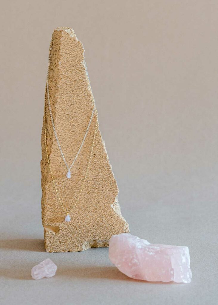Rosenquarz Halskette von Klunkar